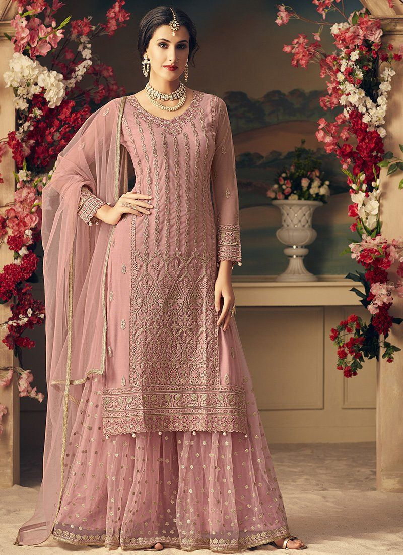 Thread Embroidered Gharara Suit in Dusty Pink