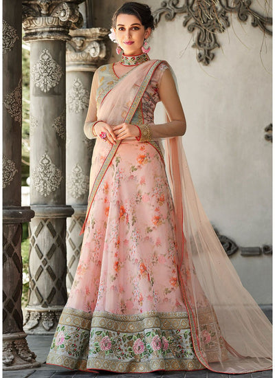 Digital Floral Printed Organza Lehenga in Pink