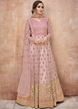 Net Embroidered Anarkali Salwar Kameez in Light Pink