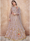 Net Embroidered Abaya Style Kameez in Light Purple