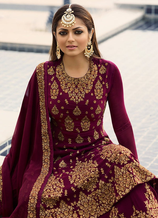 Embroidered Georgette Kurti Style Lehenga in Magenta