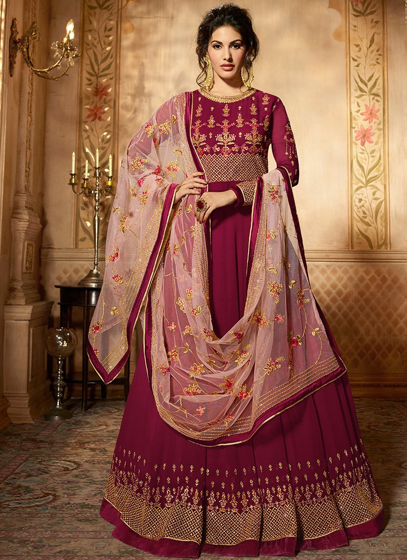 Full Sleeved Maroon Georgette Abaya Suit