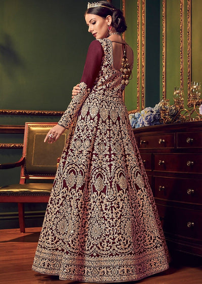 Maroon Art Silk Abaya Style Embroidered Suit