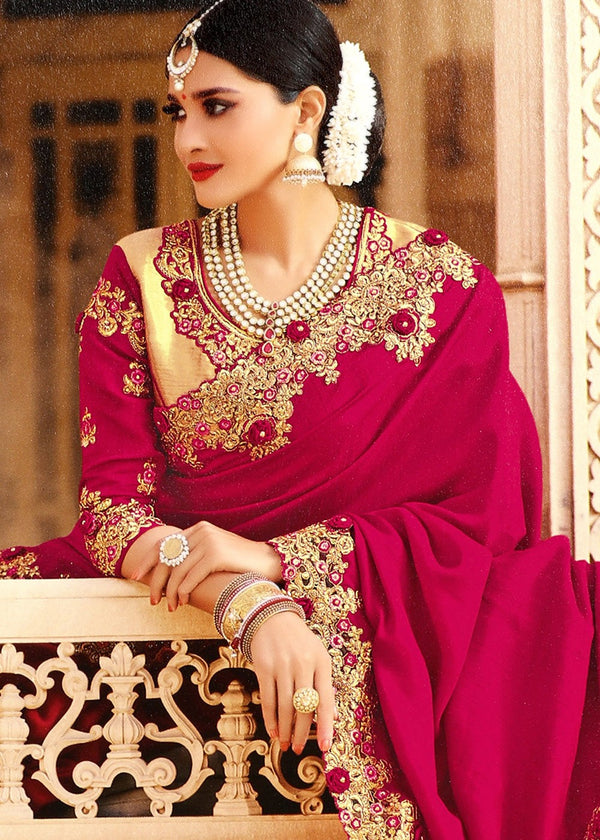 Embroidered Art Silk Saree in Magenta