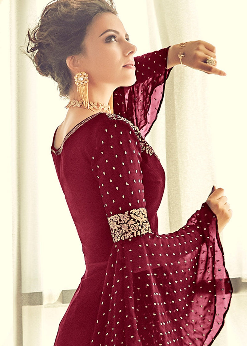 Maroon Embroidered Sharara Suit