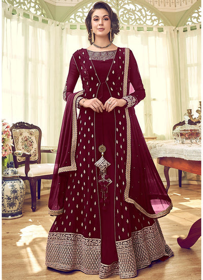 Red Floor Length Anarkali Suit