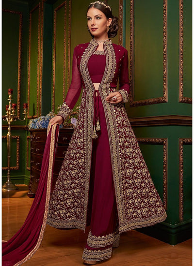 Embroidered Jacket Style Palazzo Suit
