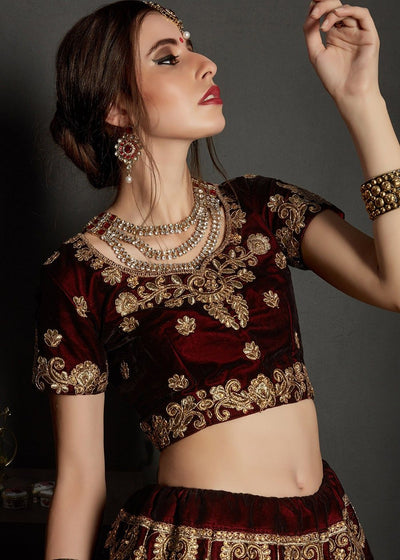 Embroidered Velvet Bridal Lehenga in Maroon