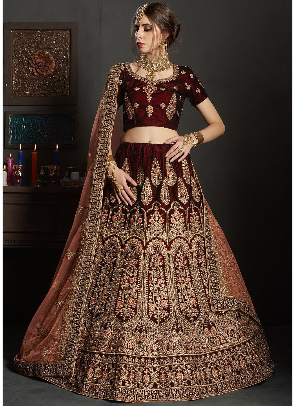 Embroidered Velvet Lehenga with Semi-Stitched Choli
