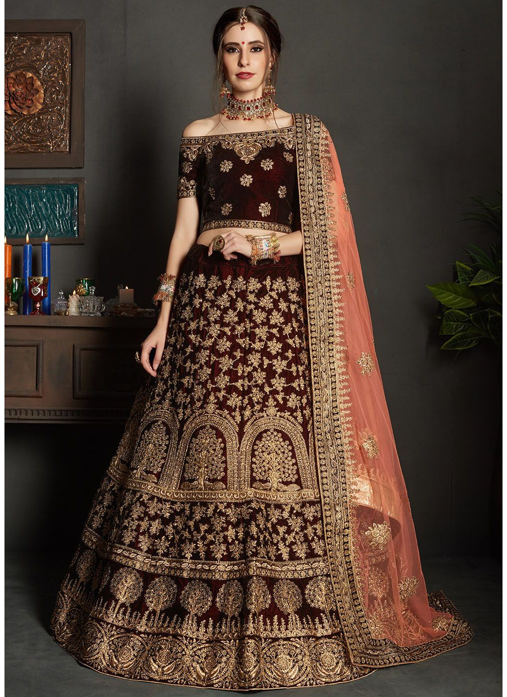 Embroidered Velvet Lehenga with Off Shoulder Choli