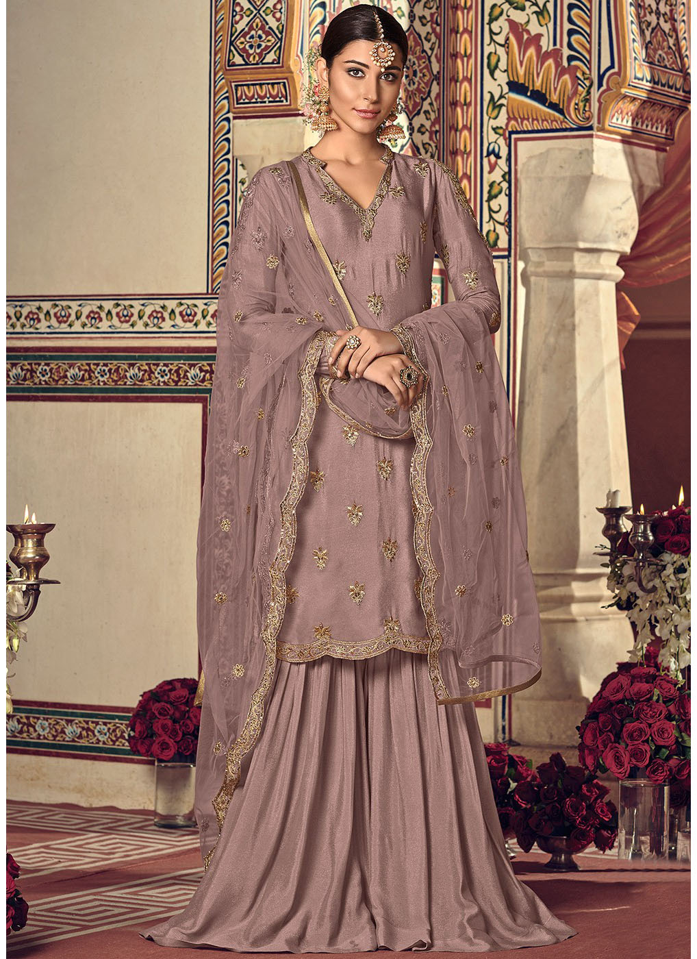 Cold Shoulder Sharara Suit in Old Rose