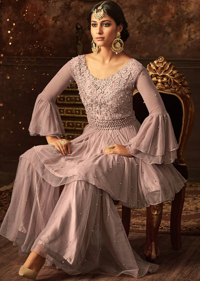 Embroidered Gharara Suit in Light Lilac