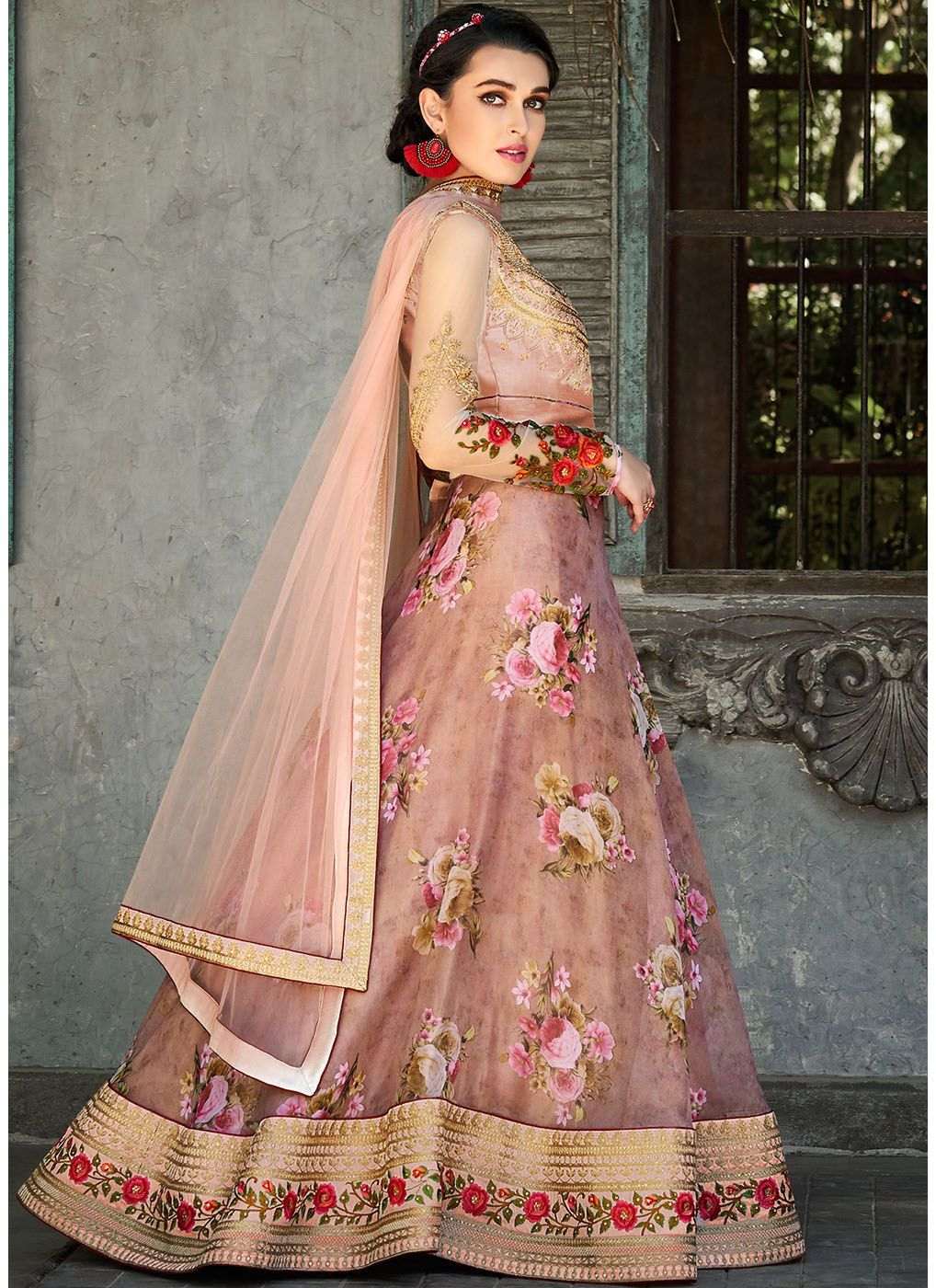 Digital Printed Organza Lehenga Choli in Peach