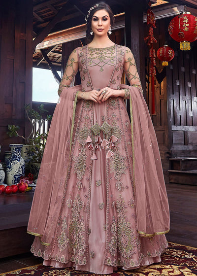 Jacket Style Embroidered Abaya Style Kameez in Mauve Purple