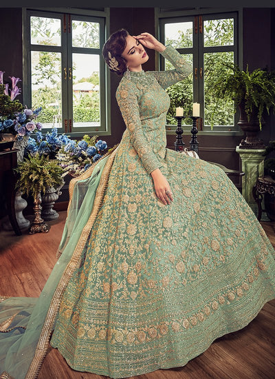 Green Net Party Wear Abaya Style Salwar Kameez