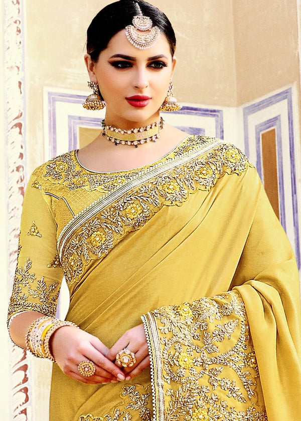 Embroidered Art Silk Saree in Mustard Yellow