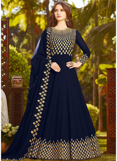 Faux Georgette Abaya Style Suit in Blue