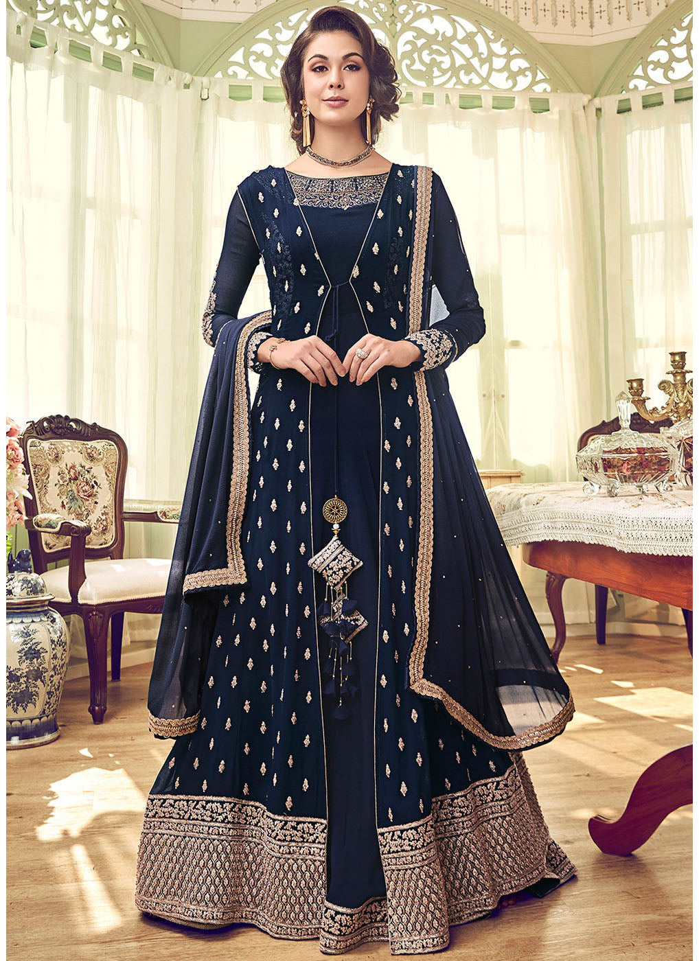 Blue Embroidered Jacket Style Abaya Suit