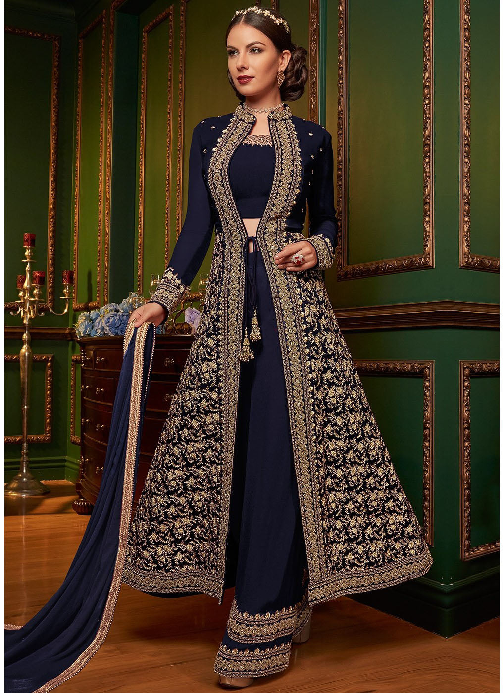 Embroidered Jacket Style Palazzo Suit in Navy Blue