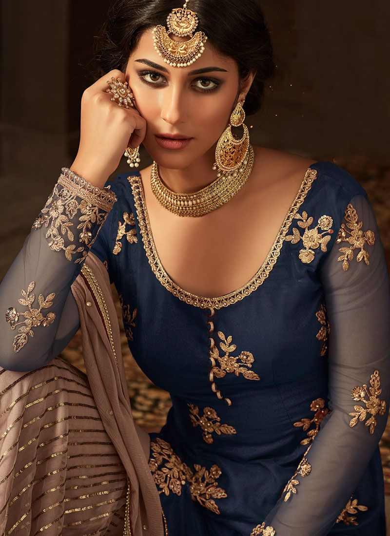 Navy Blue Gharara Suit