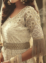 Embroidered Net Pant Style Dress in Off White