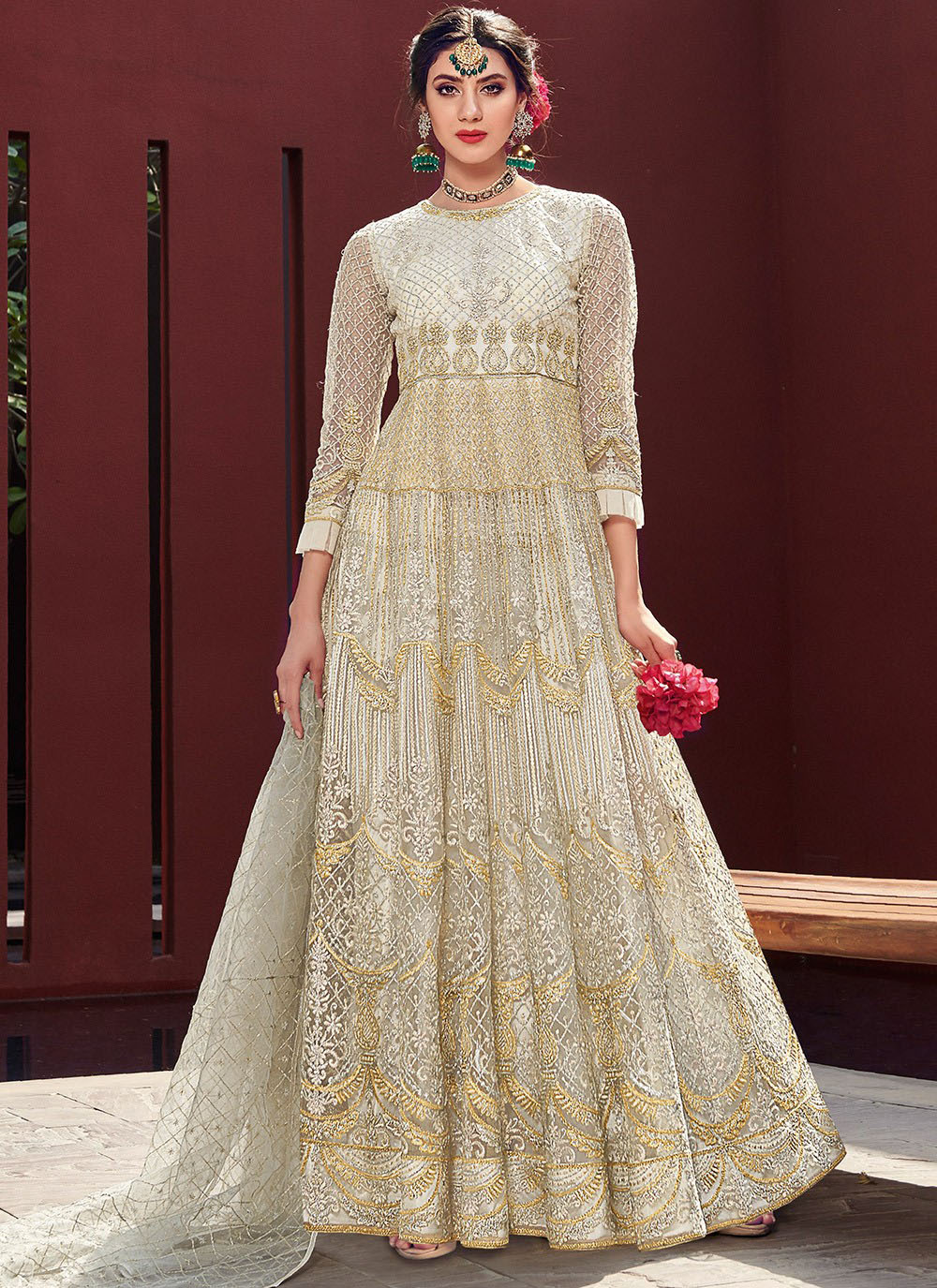 Embroidered Anarkali Salwar Kameez in Off White