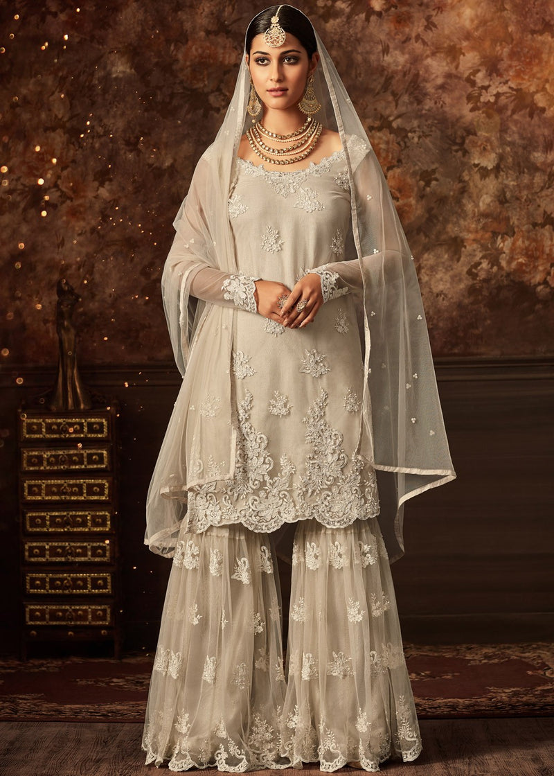 Off-White Embroidered Gharara Suit