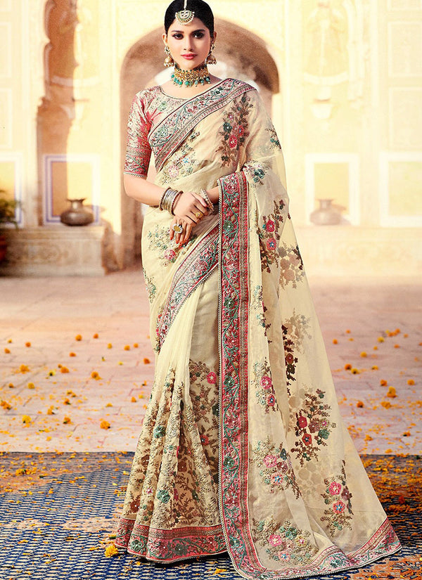 Off White Embroidered Organza Silk Saree