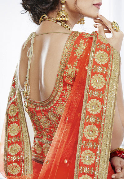 Orange Art Silk Wedding Lehenga Choli