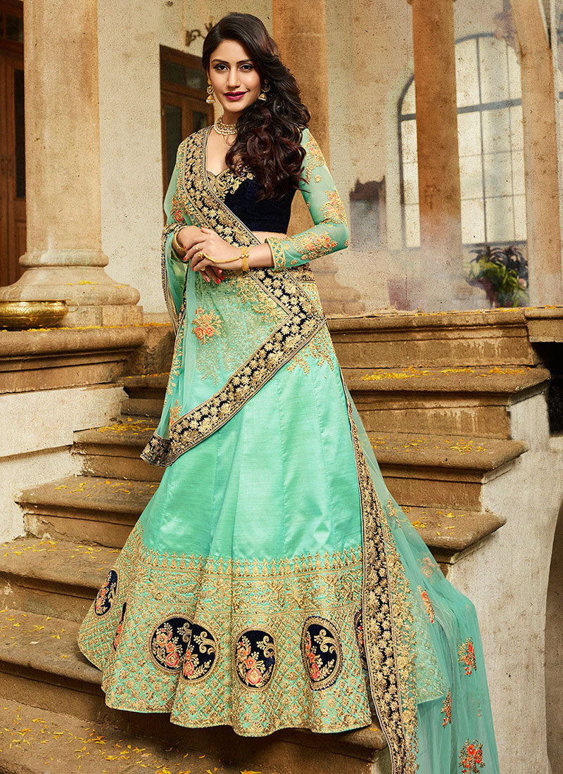 Embroidered Art Silk Party Wear Lehenga in Sea Green