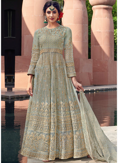 Embroidered Anarkali Salwar Kameez in Pastel Blue