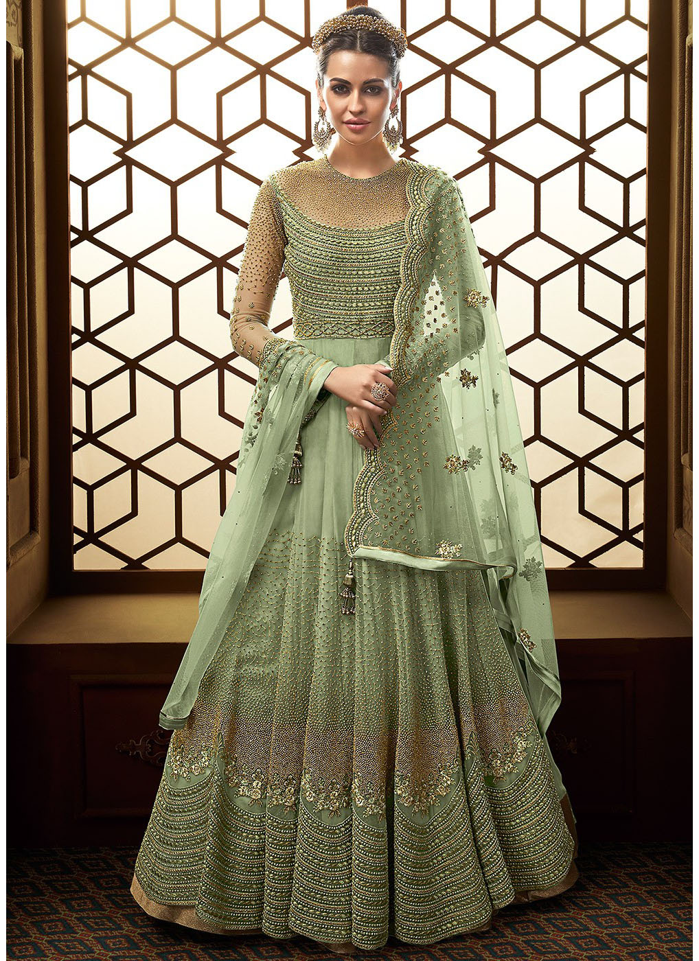 Floor Length Embroidered Anarkali in Pastel Green