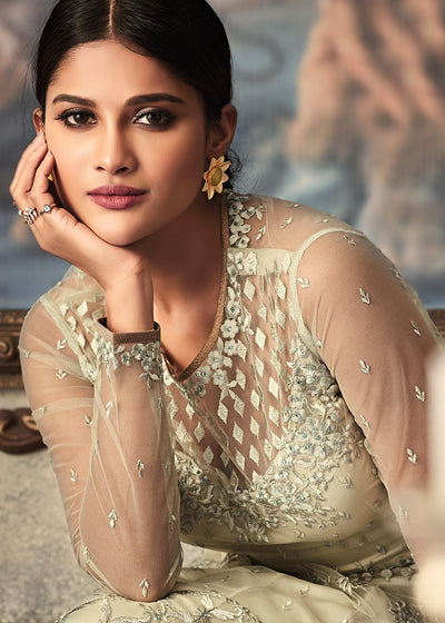 Embroidered Net Anarkali Suit in Light Beige