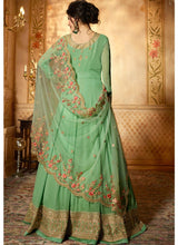 Light Green Embroidered Abaya Suit