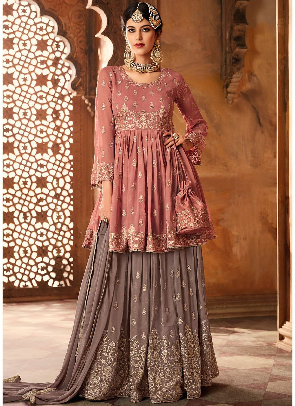 Embroidered Grey Sharara with Bell Sleeve Kameez in Peach