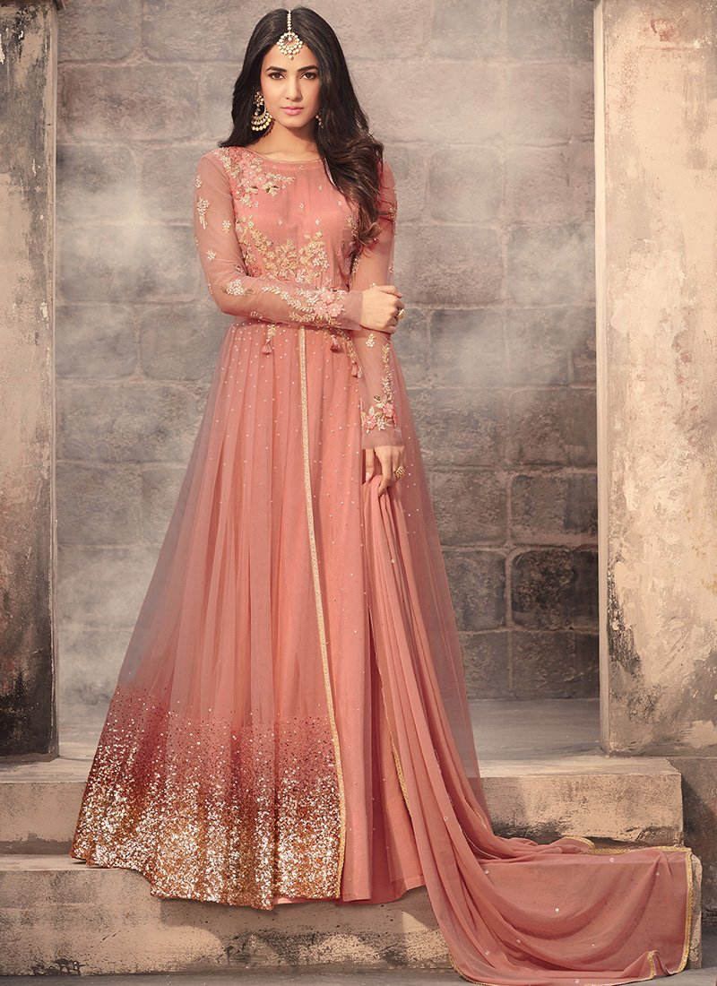 Peach Embroidered Net Anarkali Suit