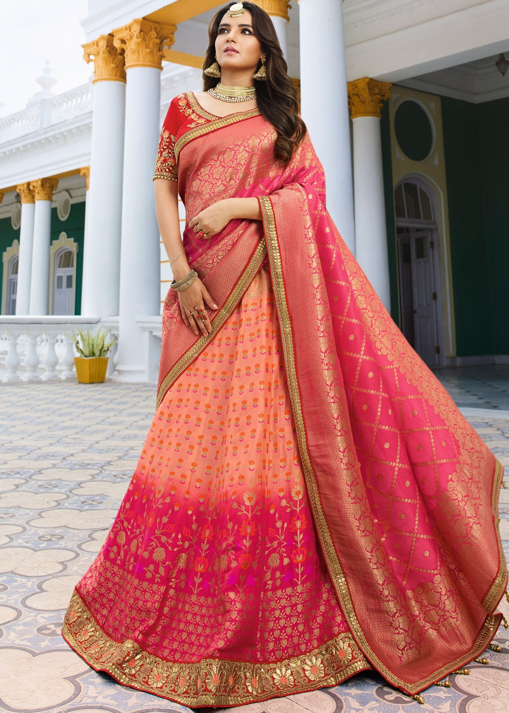 e0f522eb07 Peach and Pink Ombre Lehenga Choli - Haya Creations