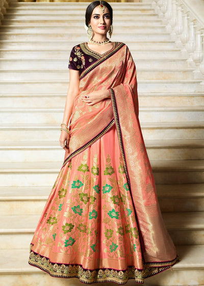 Embroidered Wedding Lehenga with Purple Art Silk Choli