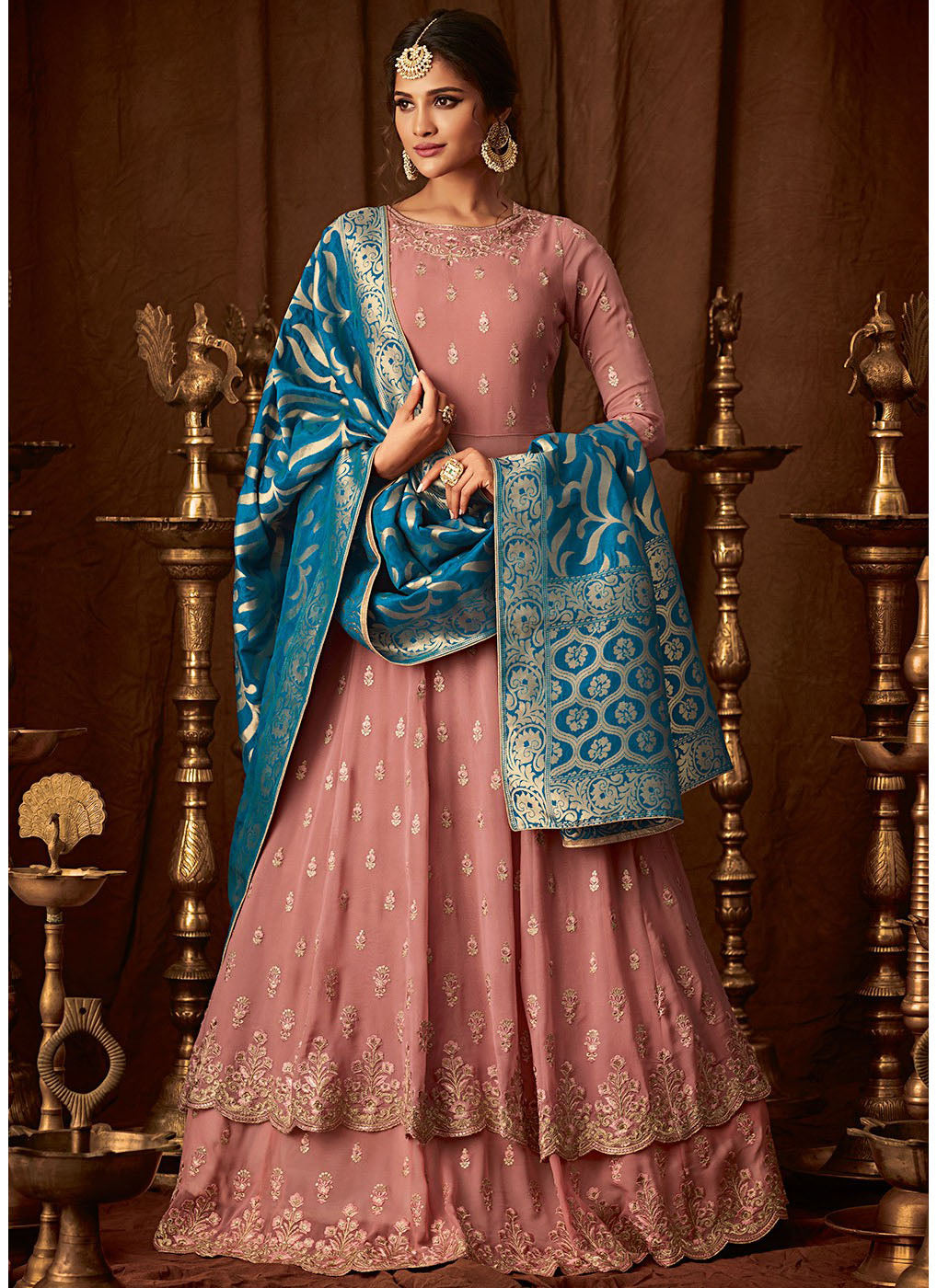Pink Georgette Embroidered Anarkali Lehenga