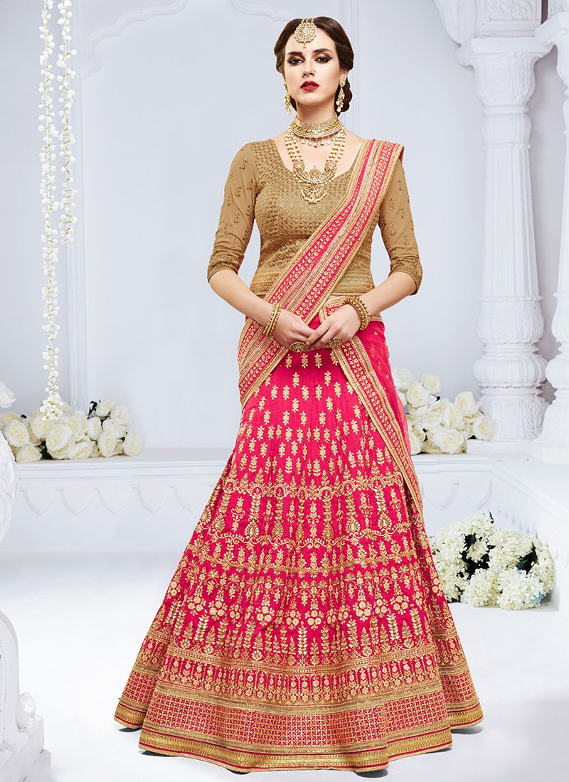 pink and beige embroidered silk lehenga choli - Was Ist Beige