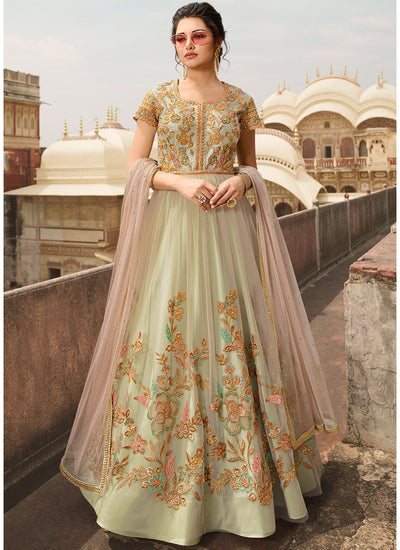 Net Embroidered Abaya Style Anarkali in Light Green
