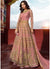 Peach Embroidered Art Silk Wedding Lehenga