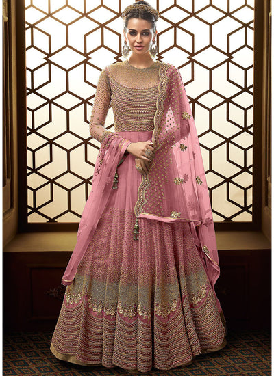 Floor Length Embroidered Anarkali in Pink