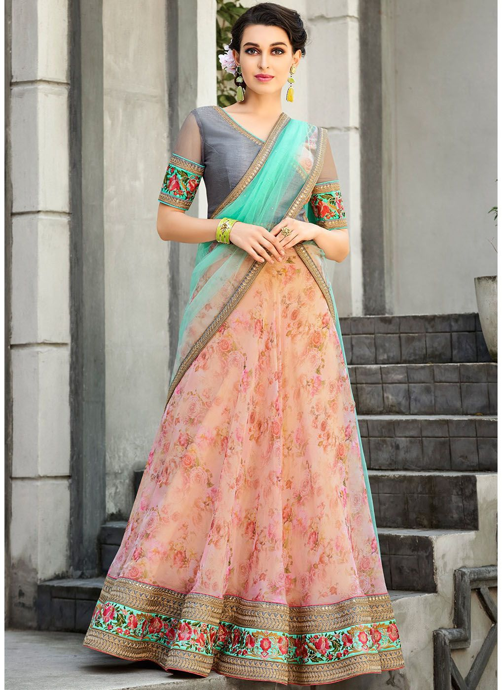 Digital Printed Organza Lehenga with Grey Art Silk Choli