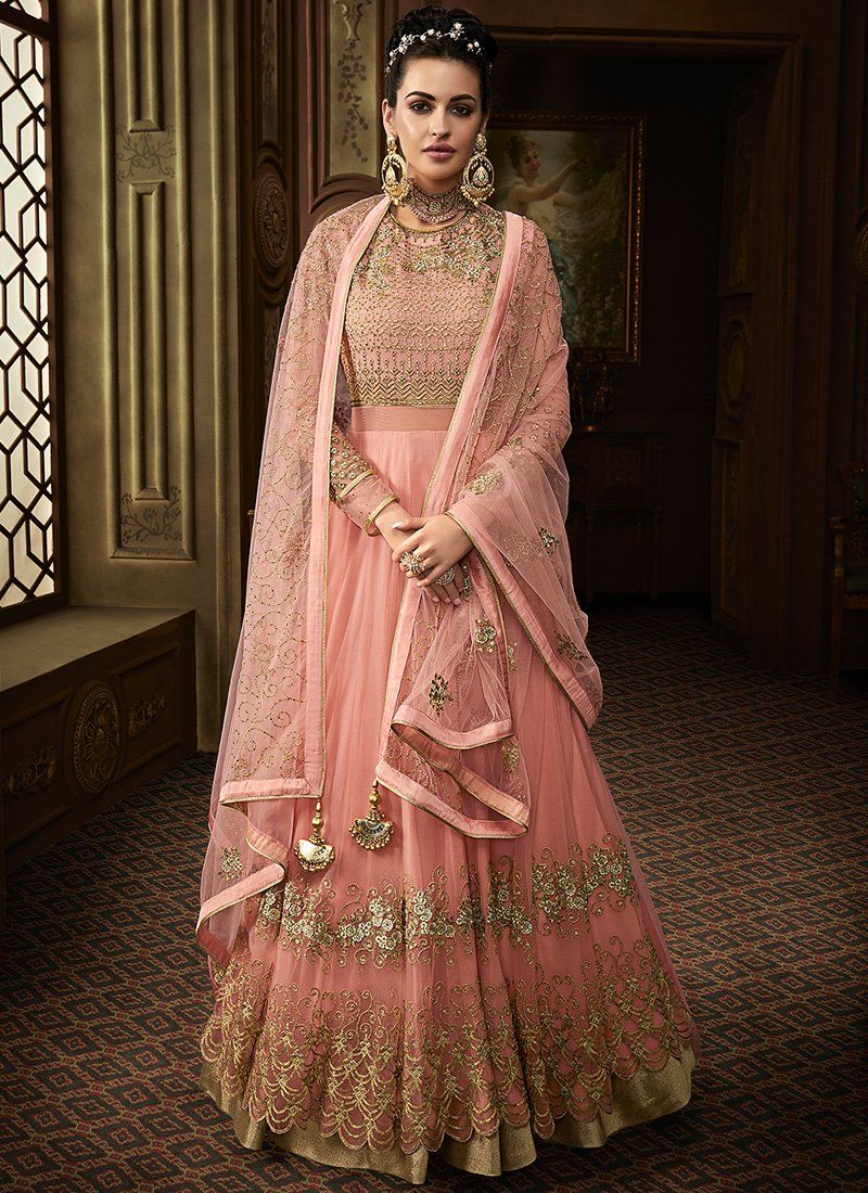 Embroidered Net Wedding Anarkali in Light Pink