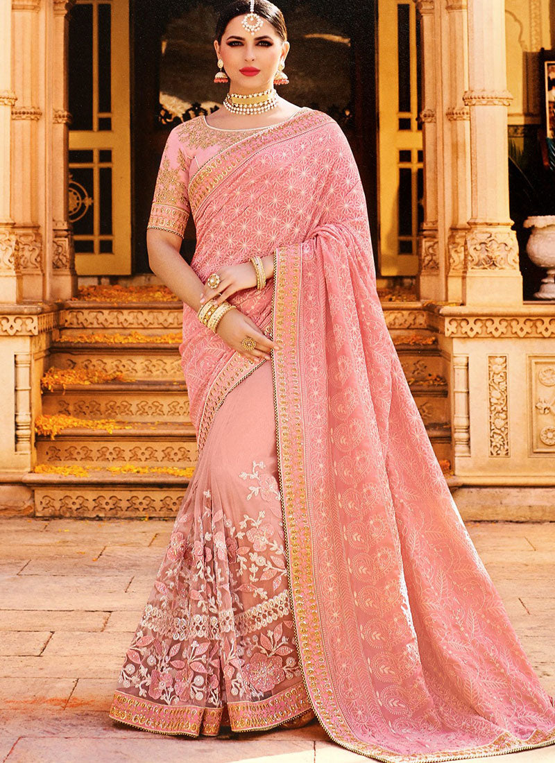 Pink Thread Embroidered Georgette Saree