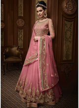 Pink Layered Net Embroidered Anarkali Suit