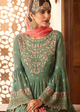 Embroidered Sharara with Bell Sleeve Kameez in Pista Green