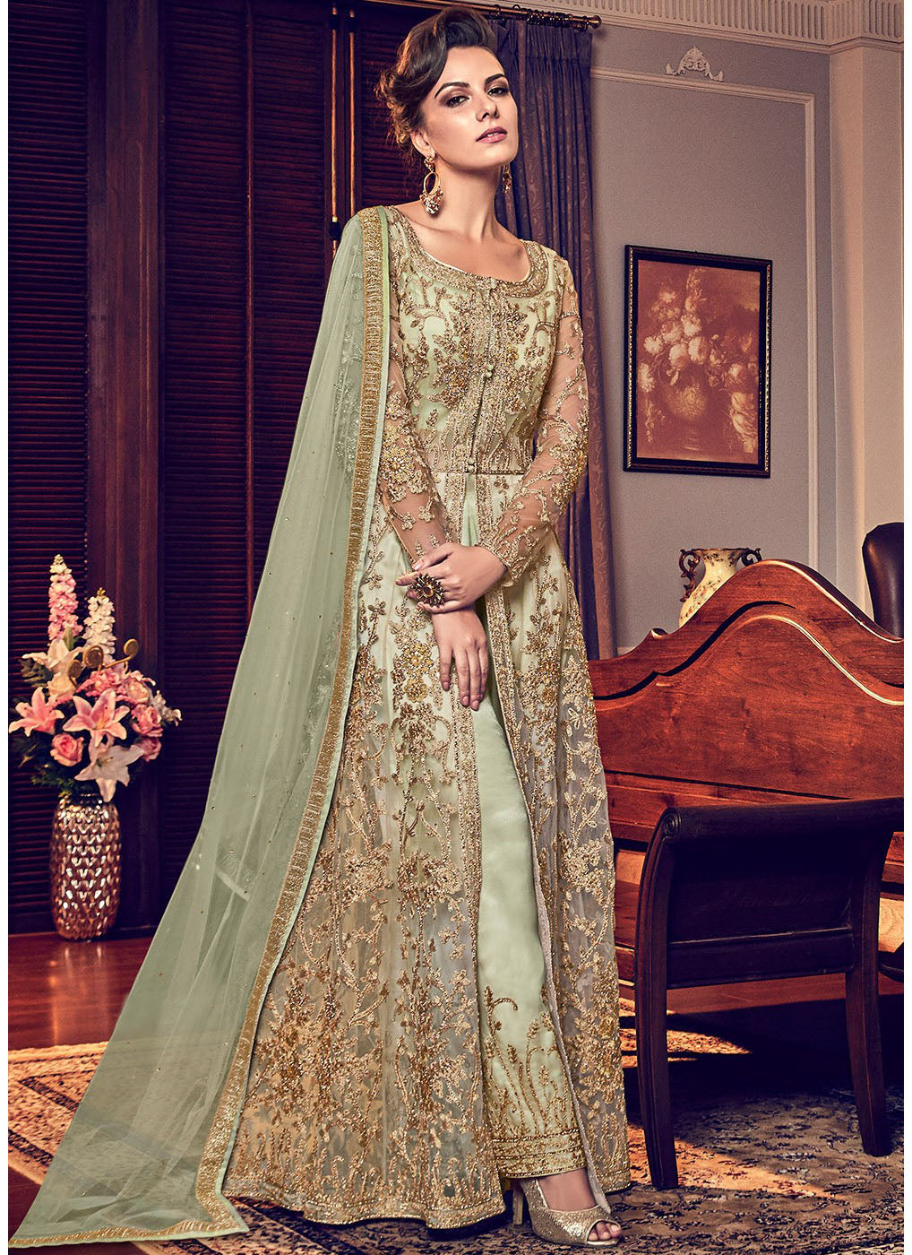 Front Slit Embroidered Pant Style Suit in Pista Green