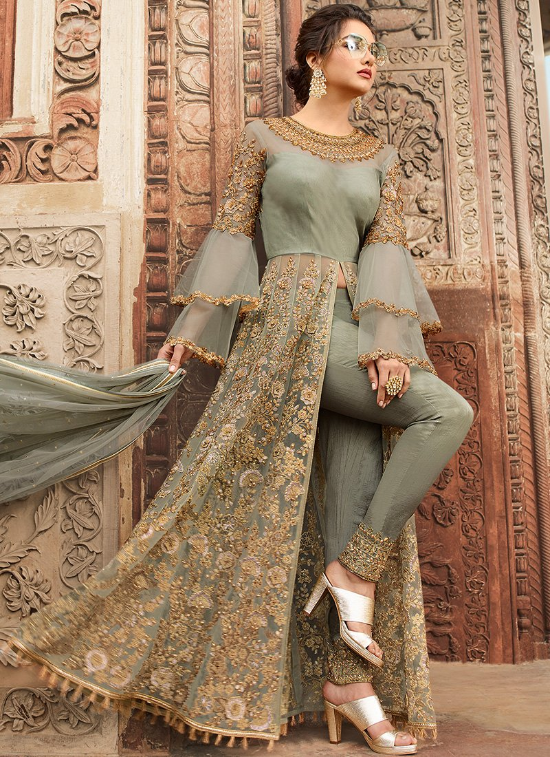 Floor Length Pant Style Anarkali in Green